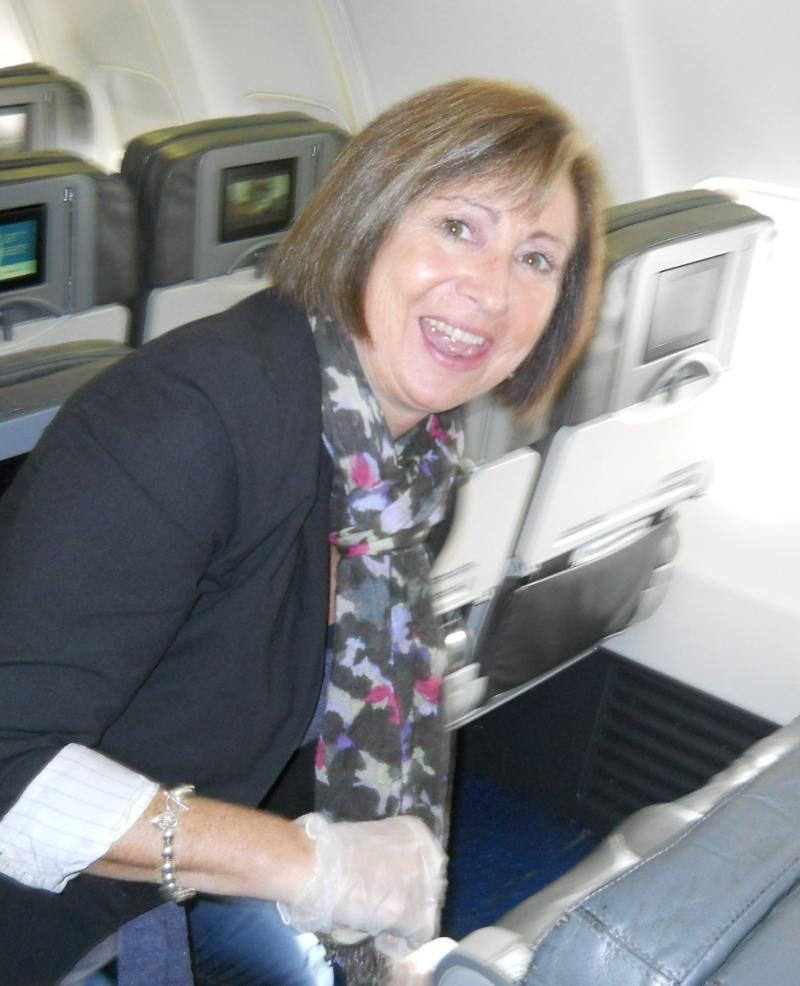 Tami Brown cleaning the plane