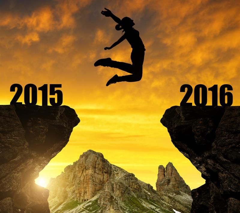 Girl jumps to the New Year 2016