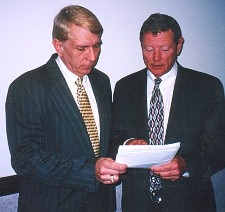 William Murray presents petitions to Senator Inhofe