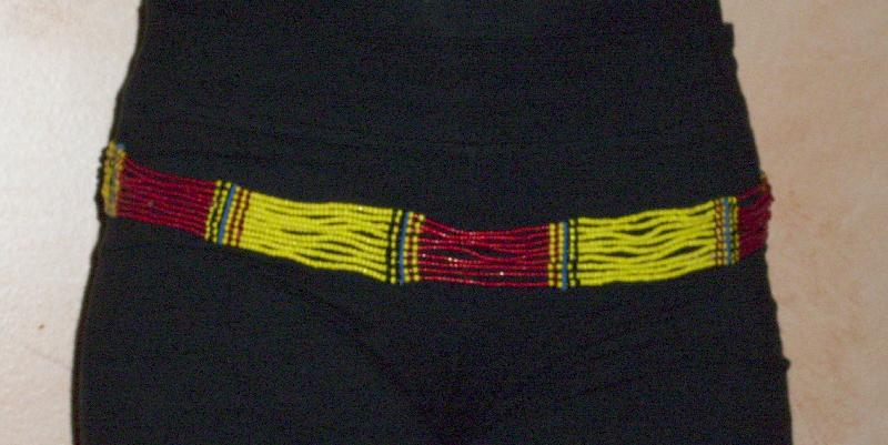 red/yellow shikinee belt close-up