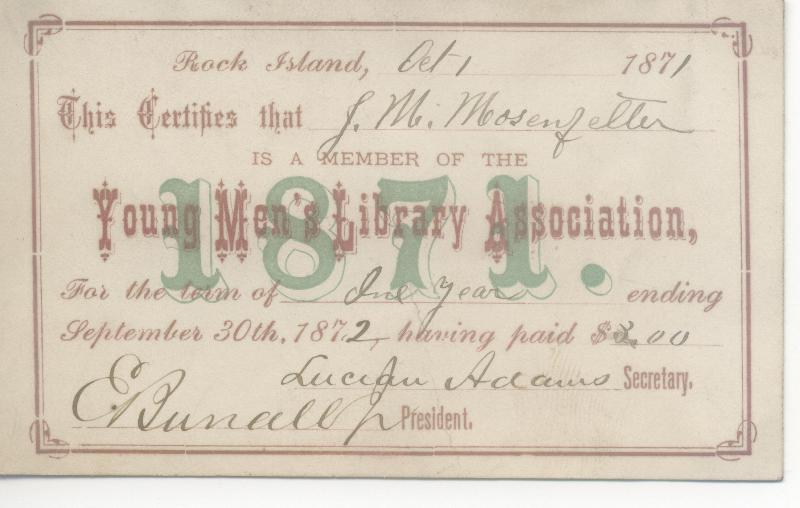 image of an 1871 private library card