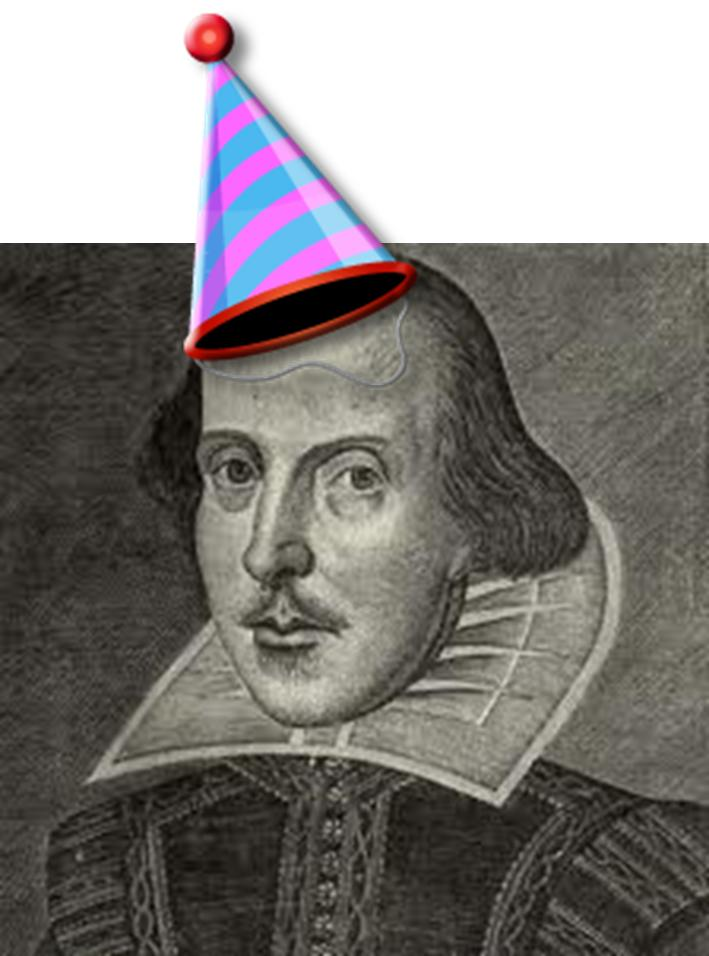 Willam Shakespeare with birthday hat