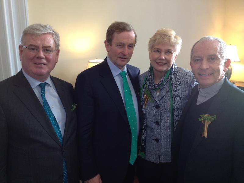 Eamon Gilmore, Enda Kenny, Geri Garvey and Rev. Michael Leonard at the Capitol