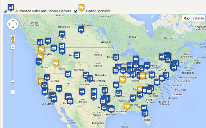 Airstream Dealers Map