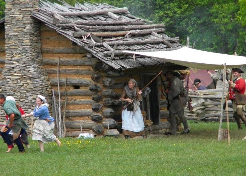 cabin battle scene