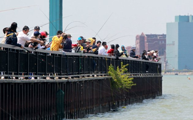 Fishing on the Detroit Riverfront May 25, 2013