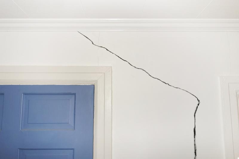 Crack in the wall of a home