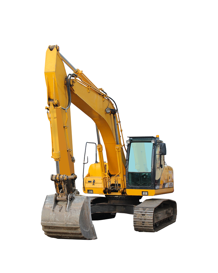 modern excavator isolated on the white background     Note  Slight blurriness, best at smaller sizes