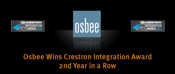 Osbee Wins Crestron Integration Award 2nd Year in a Row