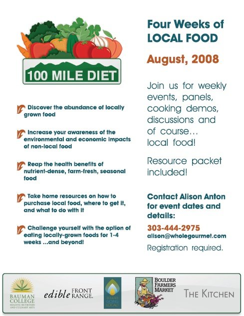 100 mile diet Inspired by the 100-mile diet of locavore fame, in which you only eat what is  grown or harvested within 100 miles of your home, the 100-mile.