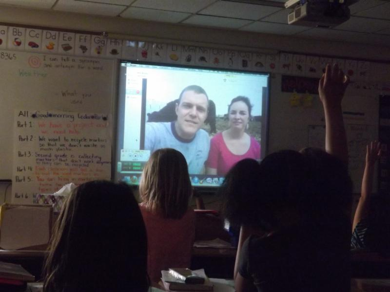 Paul and Ruth Lanoue Skype with first graders