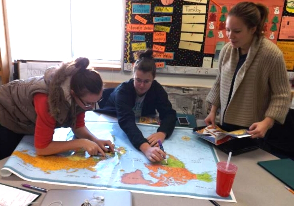 Gustavus Adolphus students complete a geography lesson