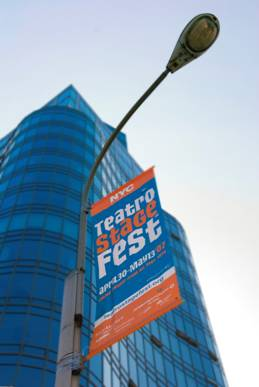 TeatroStageFest banner on the street