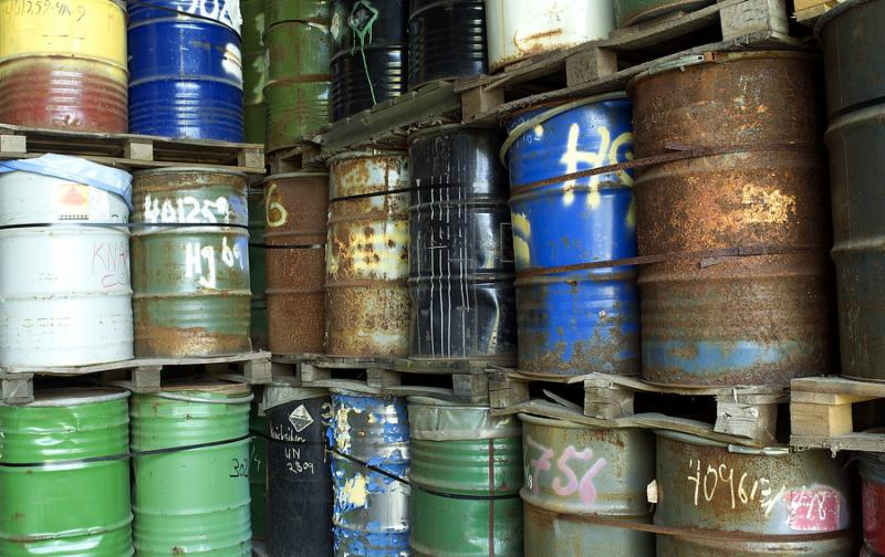 Large group of Oil Drums in a warehouse