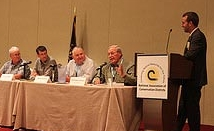 A panel of top conservation farmers spoke on soil health with NACD forum attendees.