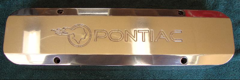 Polished Billet-TEK valve covers - TIP logo with Pontiac