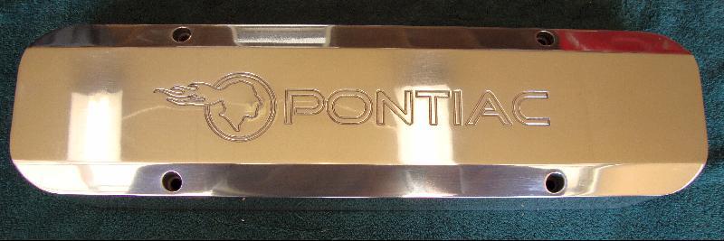 Polished Billet-TEK valve covers - TIP logo with Pontiac