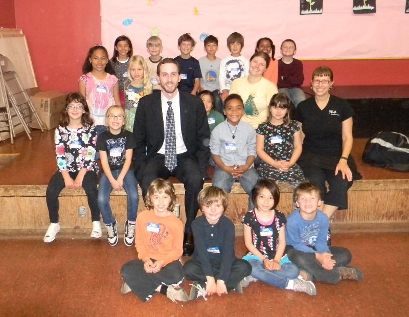 Scott with a class of McKinley Elementary schoolchildren