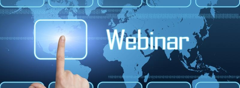 Webinar concept with interface and world map on blue background