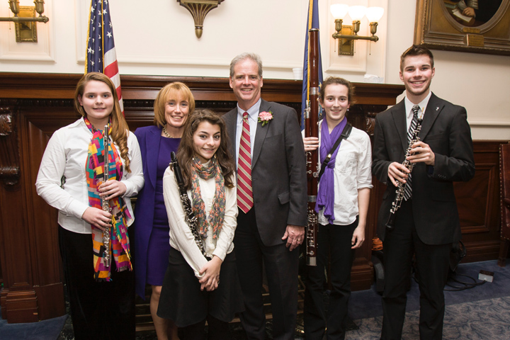 Inaugural Photo with Scholarship Woodwind Quintet & Gov. Hassan