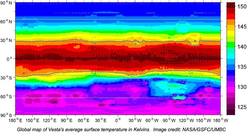 global map of Vesta's average temperature