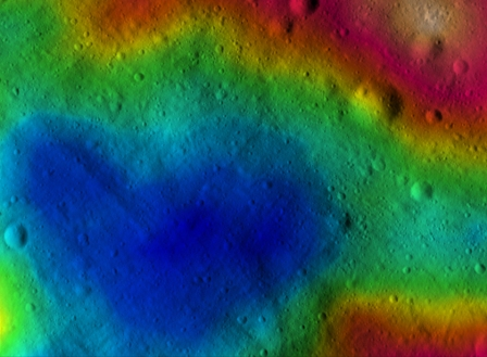 Heart-shaped hollow on Vesta