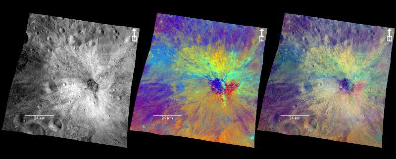 three views of the crater, Vibida, on Vesta.