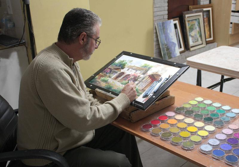 Johannes Working With PanPastel