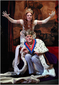 "Lauren Ambrose with Geoffrey Rush in ""Exit the King""  Photo: New York Times"
