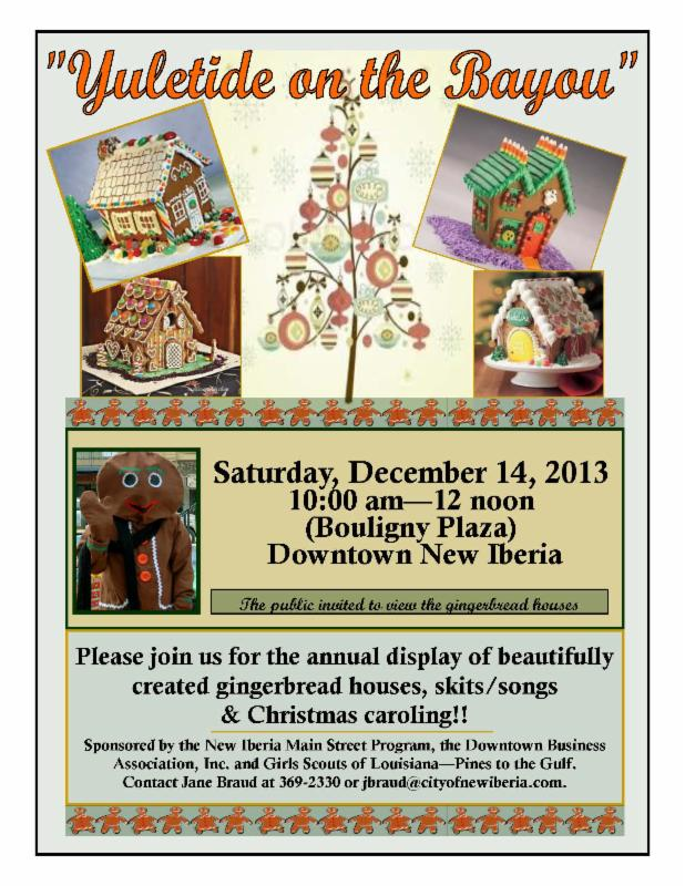 yuletide on the bayou flyer girl scout gingerbread house competition