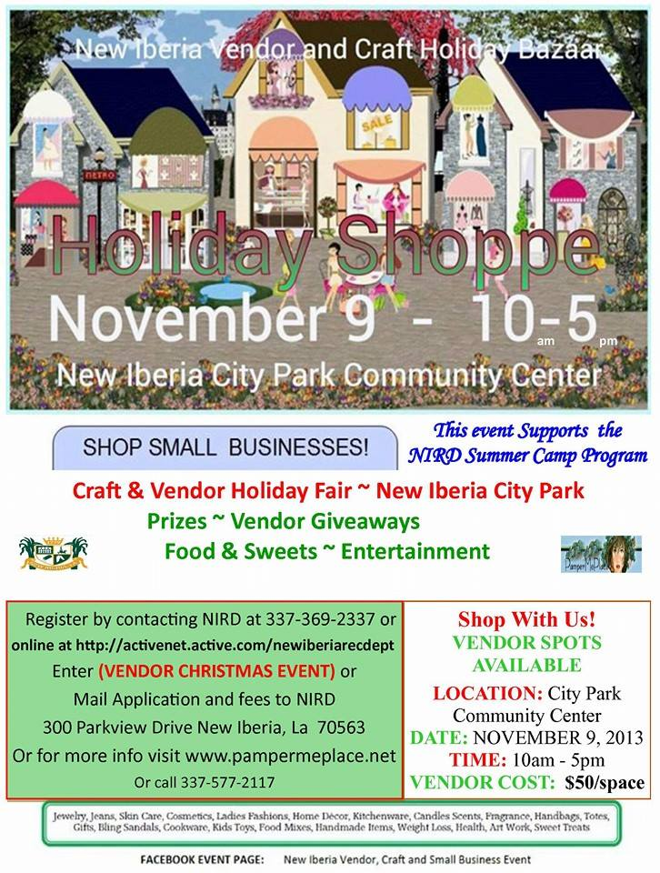 Holiday Shoppe Flyer Vendor and Craft Event New Iberia
