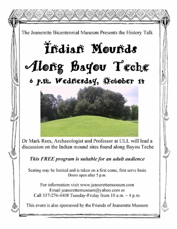 Jeanerette Museum Indian mounds on teche flyer