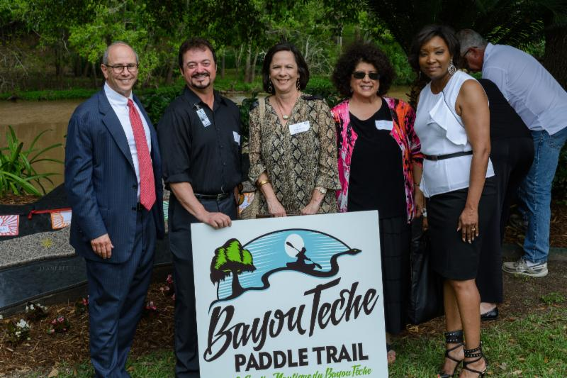 Bayou Teche Paddle Trail Ribbon Cutting- Charles Boustany, Robbie Bourque, Fran Thibodeaux, Jane Braud, April Foulcard - courtesy ANHA
