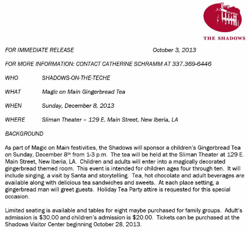 Magic on Main Gingerbread Tea Press Release