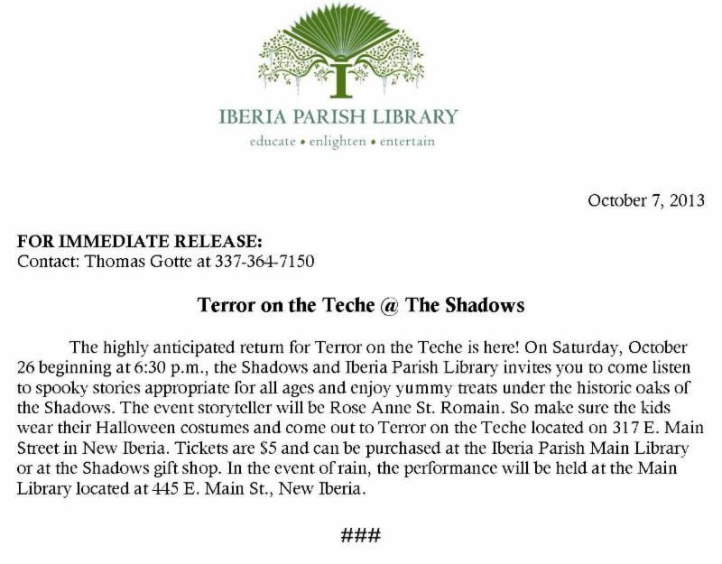 terror on the teche at shadows on the teche press release