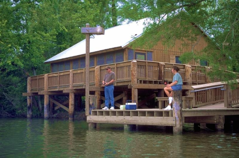 Cabin and fishing at Lake Fausse Pointe State Park