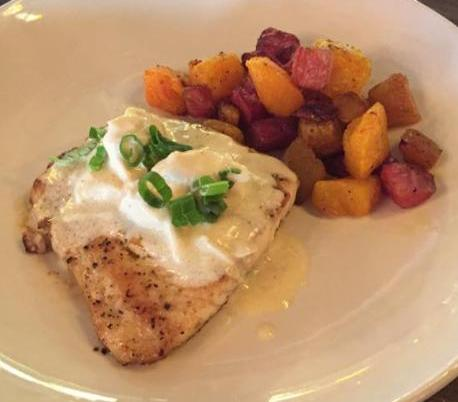 Beau Soleil Cafe Pan seared redfish topped with lemon-butter lump crabmeat sauce with roasted Sunset Blend (Butternut Squash, Candy-Striped Beets and Golden Beets