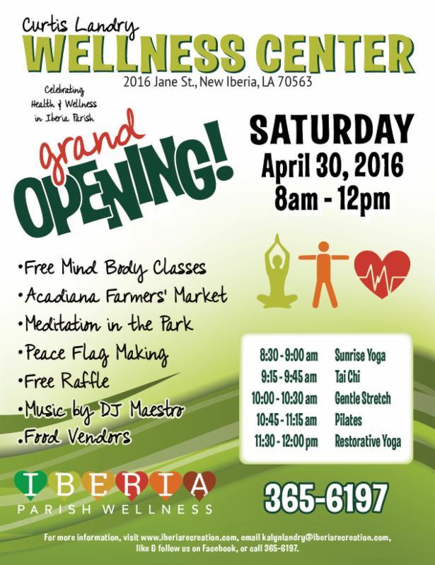 Curtis Landry Wellness Center Grand Opening Flyer