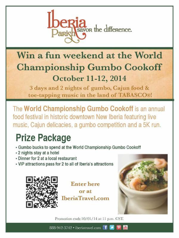 Win a gumbo getaway flyer.