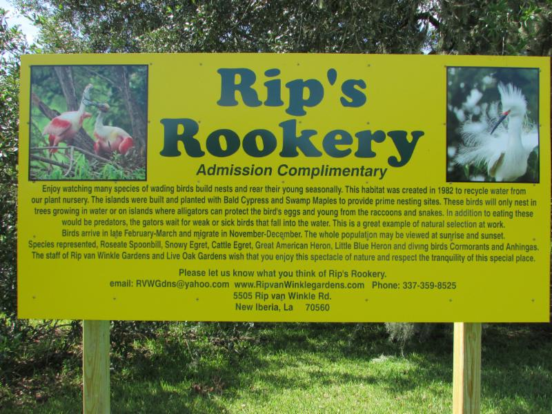 Rip's Rookery Sign