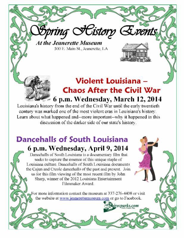 Jeanerette Museum History Talk Flyer