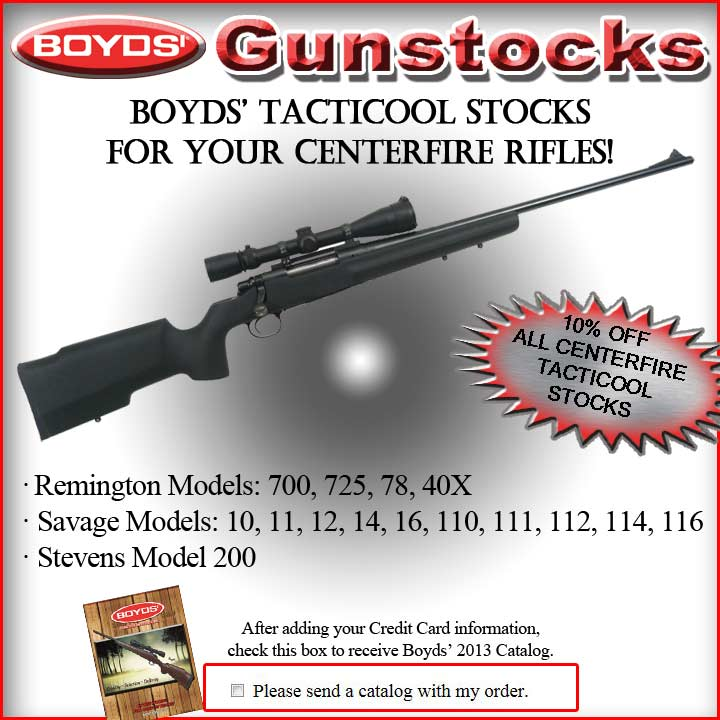 AVE 10% on BOYDS' TactiCool Centerfire Rifle Stocks!