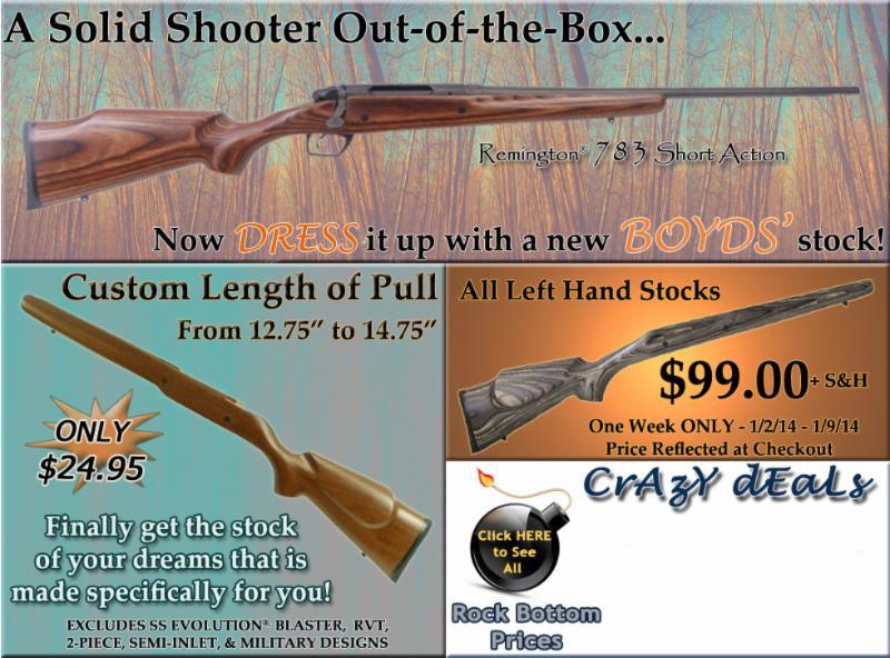 Boyds' Specials~Rem 783 Short Action~Custom LOP~Left Hand Stocks $99