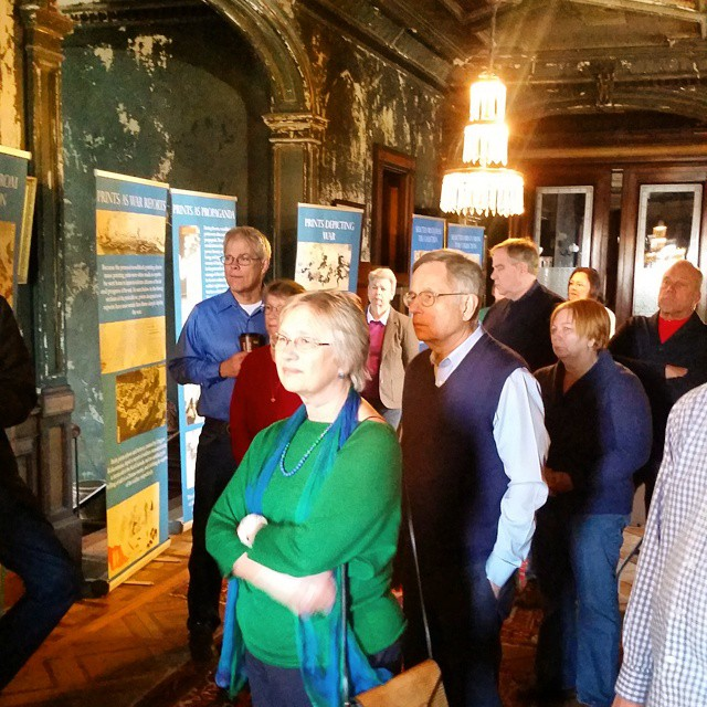 Guests viewing  the Japanese Woodblock Prints traveling exhibit at the #hegelercarus mansion