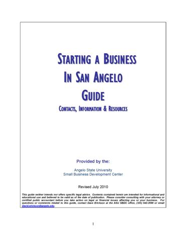 Starting a Business in San Angelo Guidebook