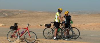 Biking through the Arava Plains, Israel