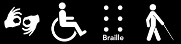 4 access symbols, interpreting, wheelchair, braille, and cane.