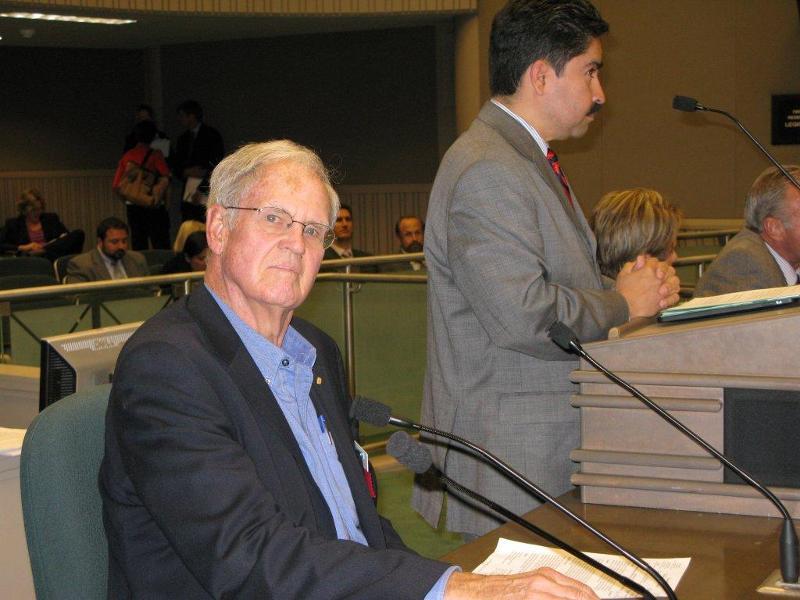 Senior Assembly Member Allan Hurst testifying with Assembly Member Jose Solorio