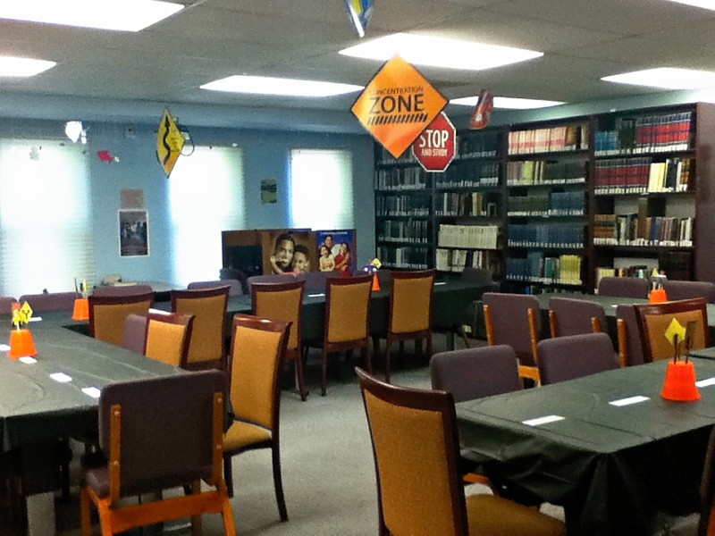 TI Library set up for the Shabbaton