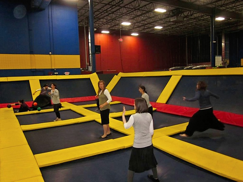 Girls playing Dodgeball at Sky High Zone